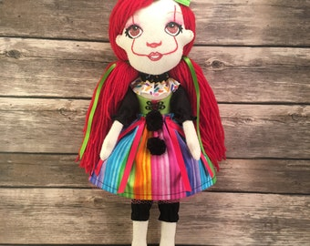 Clown Soft Sculpture Doll, Clown Art Doll, Dark Gothic Art Doll, Soft Sculpture Doll, Art Doll, Clown Doll, Dark Doll, Pennywise, IT