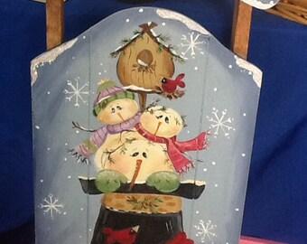 Winter snow friends sled, snowman sled, christmas sled, christmas decor, winter sled,
