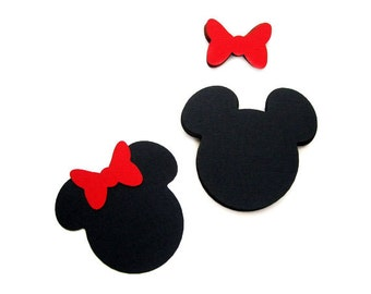 24 Minnie Mouse die cut (4 x3.75 inches) in black with RED bow  A395