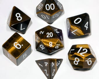 Tiger's Eye Gemstone Polyhedral Dice Set:  Hand Carved with Quality!  Full-Sized 16mm. Great for DnD RPG Dungeons and Dragons