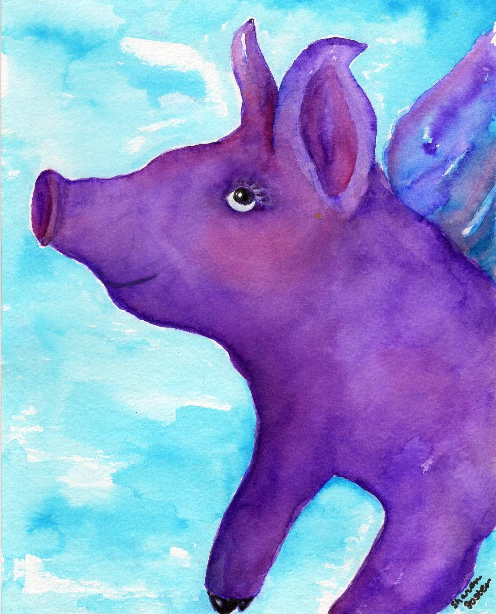 Original purple flying pig watercolor painting flying pig zoom arubaitofo Images