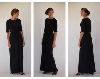 Modest Black Maxi Dress with Belt