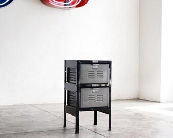 1 x 2 Reclaimed Locker Basket Unit in Black and Natural Steel