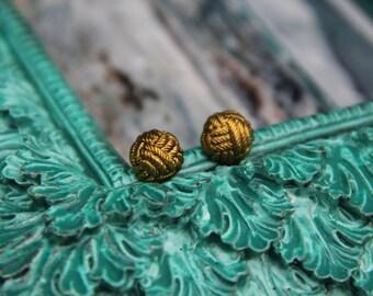 Gold Braid Metal Stud Earrings