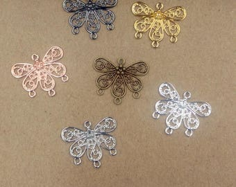 Wholesale 100 Brass Filigree Butterfly 18x22mm Raw Brass/ Antique Bronze/ Silver/ Gold/ Rose Gold/ White Gold/ Gun-Metal Plated