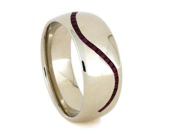 Mens Ruby Wedding Ring or Gemstone Wedding Band For Women, 10k White Gold Ring
