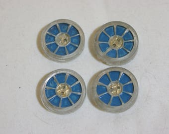 "4 Vintage blue Painted Clear Plastic Buttons 2.2cm 7/8"" #150"