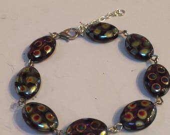 Polka Dot Multicolored Beaded Link Bracelet