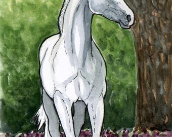 PURPLE FLOWERS White Horse Art