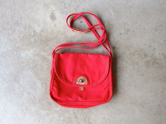 80s Red Canvas Bag Retro Vintage Tote Red Cotton Fabric Purse Hipster Shoulder Bag Everyday Work School Purse