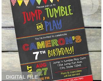 "Gymnastics Birthday Chalkboard Invitation Jump Tumble Play Party Boys Girls Red - DIGITAL Printable Invite - 5"" x 7"""