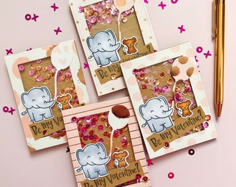 """Adorable Elephant Shaker Valentine's Day Shaker Card Set - Handmade, Colored & Stamped - Reads """"Be My Valentine? - Set of 4"""