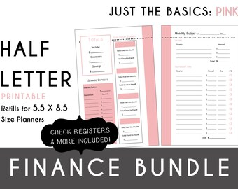 Half Letter [5.5 x 8.5] FINANCE Bundle  Check Register, Monthly Budget, Debt Payoff Tracker, Debtor Contacts Passwords PDF - Pink
