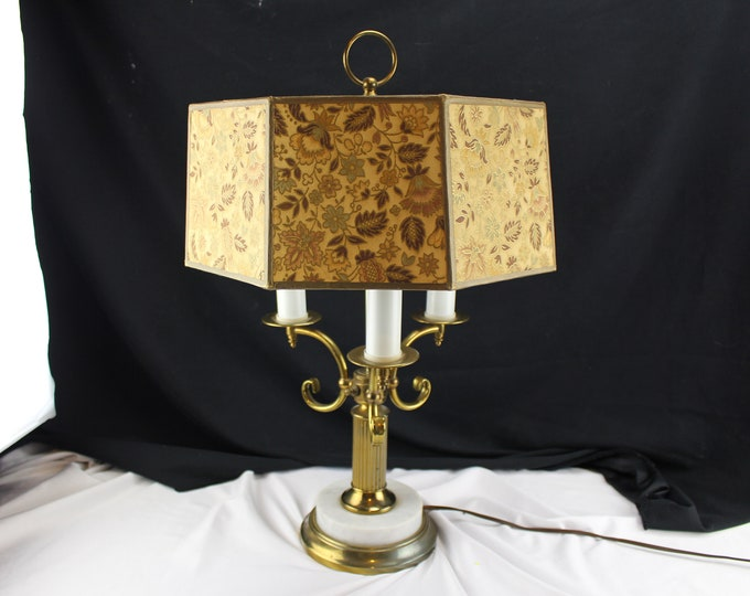 Vintage 70's Hollywood Regency Brass and Marble Table Lamp 3 lights