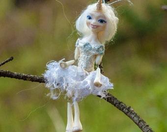 Ellie OOAK Dollie - Unicorn Girl Art Doll - Polymer Clay Sculpture - Posable Doll Ornament Animal Spirit Fantasy