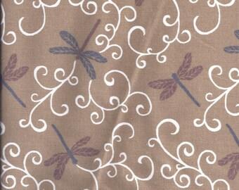 Tan Dragonfly Curtain Valance
