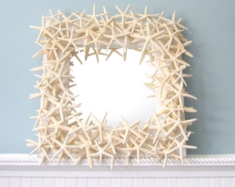 Beach Decor Starfish Mirror, Nautical Decor Starfish Wall Mirror, Seashell Wall Mirror, White Starfish Mirror, Seashell Mirror  #SFM18