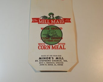 Mill Maid Brand Stone Ground Old Virginia Select White Sifted Corn Meal Bag