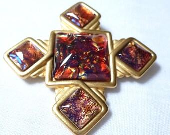 YSL Yves Saint Laurent dichroic RED GOLD tone Maltese cross brooch pin