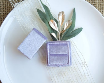 Velvet Ring Box - Lavender, Ice Blue, Coral, Peach, Light Pink, Light Green Wedding Ring Box