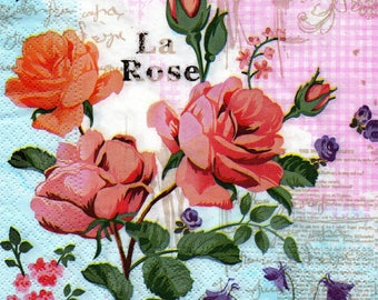 116 LES ROSES 1 lunch size paper towel