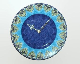 Gold Turquoise Blue Wall Clock, 9 Inch SILENT Porcelain Plate Clock, Kitchen Clock, Unique Wall Clock, Wall Decor, Housewarming Gift - 2197