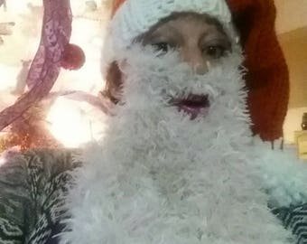 Santa hat with attached beard