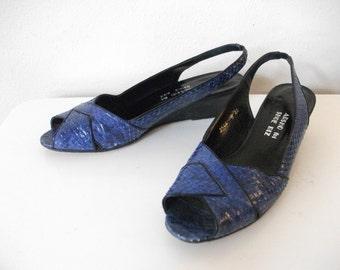Royal Blue Snakeskin Wedges, Size 8 Narrow