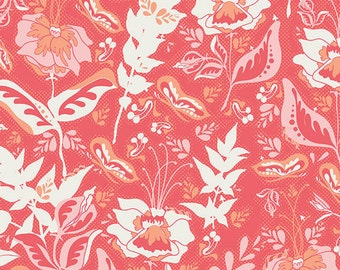 Coral Floral Fabric, Art Gallery Reminisce RMS-2506 Wonderment Teaberry, Bonnie Christine, Coral Floral Quilt Fabric, Cotton Yardage