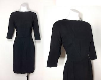 M/8-10   Wilshire of Boston 50s black dress, vintage 50s black rayon wiggle dress 60s black rayon dress Audrey Hepburn little black dress
