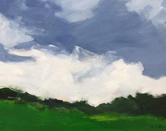landscape painting green landscape emerald green art framed art original painting pamela munger