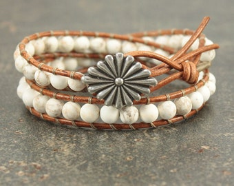 White Bracelet Southwest Style Leather Bracelet Gemstone Jewelry Silver White Leather Wrap Bracelet