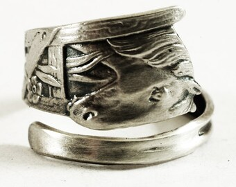 Horse Ring, Sterling Silver Spoon Ring, Animal Ring, Handmade Gift Personalized Ring Size, Eco Friendly Jewelry, Farm Animal Small Ring 3148