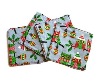Owls Fabric Coasters, Blue Christmas Coasters, Set of 4, Handmade Coasters