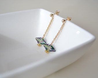 Crystal Spike Earrings, Gold and Crystal Earrings, Crystal and Gold Earrings, Double Spike Earring, 14K Gold Fill Earrings