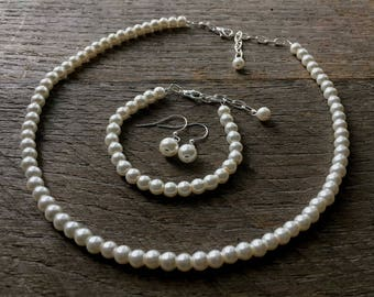 Cream Set Flower Girl Pearl Necklace Bracelet Earring One Single Strand Simple Pearl Necklace Bracelet Earrings on Silver or Gold
