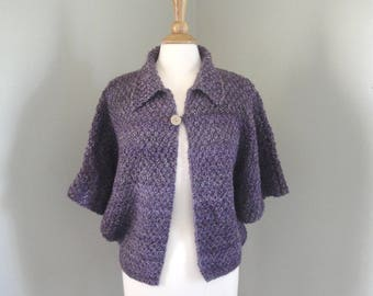 Chunky Shrug, Hand Knit, Oversized Cardigan Sweater, Dolman Sleeves, Purple Stripes, Womens S M, Bed Jacket, Loose Sweater