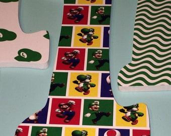 Custom Decorated Wooden Letters - Super Mario Brothers - Luigi