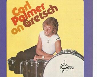 1979 Advertisement Gretsch Drums ELP Emerson Lake Carl Palmer Drummer 8x11 Celebrity Superstars Studio Rock Music Collector Wall Art Decor