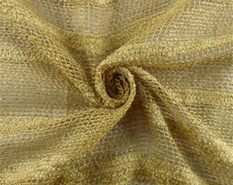 Golden Beige Rayon/Linen Boucle/Chenille Stripe Netting, Fabric By The Yard