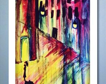 Rainy Night - 11x14 Poster Print