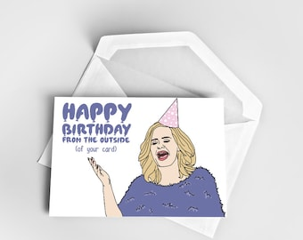 Happy Birthday Greeting Card, Adele Birthday Card, Birthday Card Adele, Greeting Card Birthday, Pun Birthday Card Funny Adele