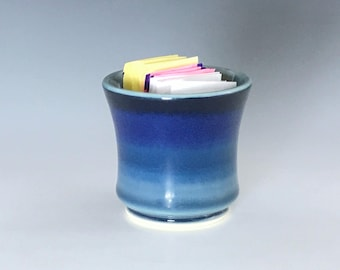 Blue Sugar Packet Holder, Porcelain Sweetener Holder, Blue Ceramic Sugar Bowl, Small Planter, Blue Kitchen Decor, Pottery Sugar Container