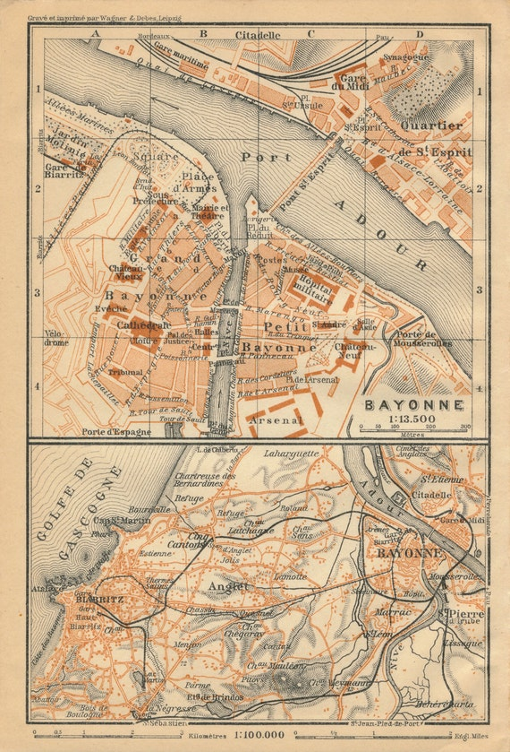 1914 Bayonne France Antique Map