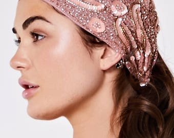 Hollywood Rose Gold hand made head piece Turban Great Gatsby Flapper Vintage inspired 20s Downton Abbey Art Deco Speakeasy