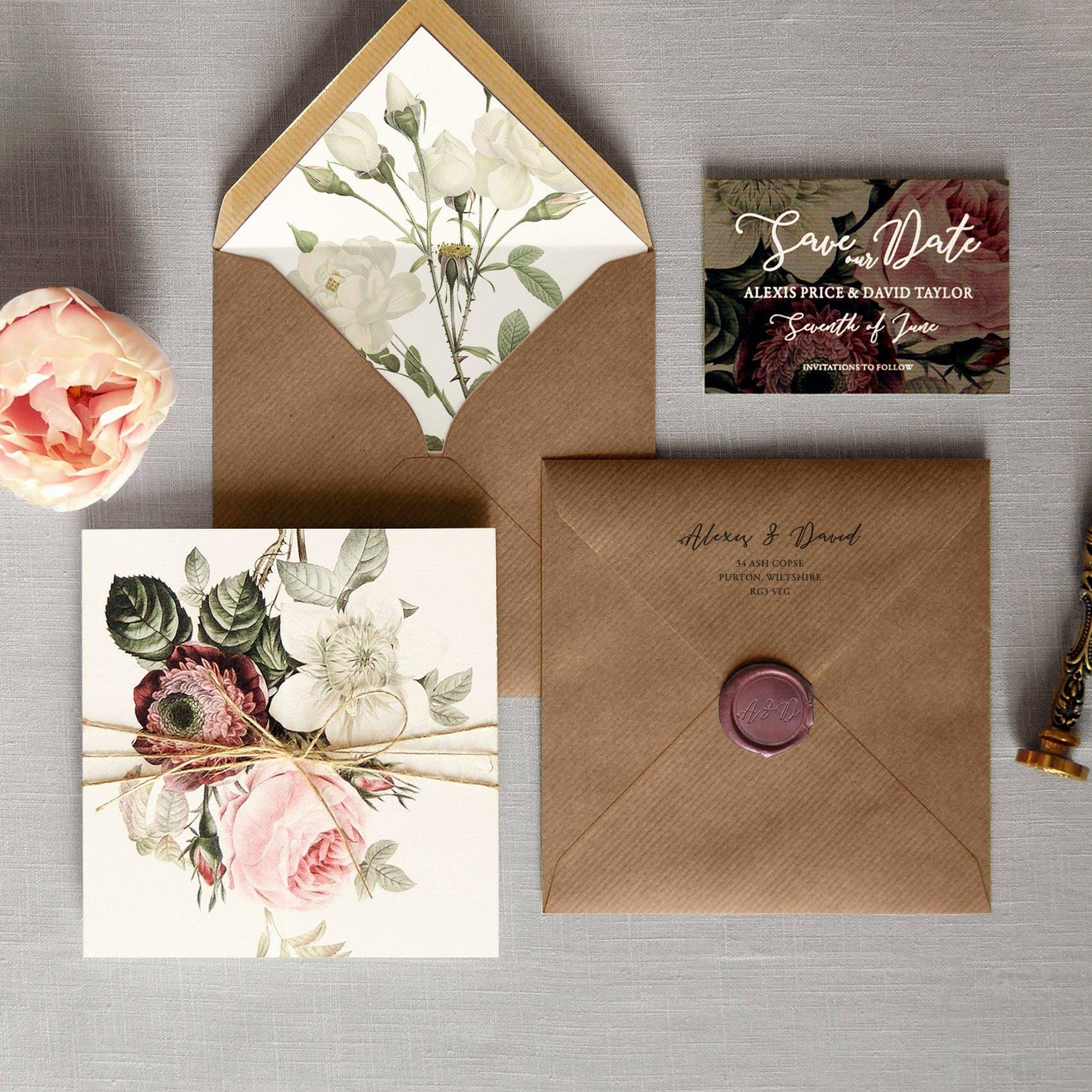 English Garden Luxury Folding Wedding Invitations & Save the