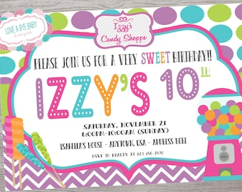 Candy Theme birthday invitation. colorful printable. digital download