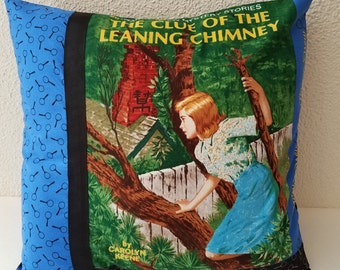 Nancy Drew pillow cover, The Clue of the Leaning Chimney, Nancy Drew books, decorative pillow cover, throw pillow, gift pillow, book gifts