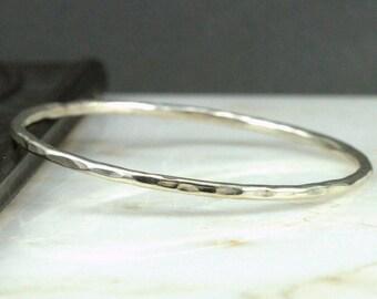 Sterling Hammered Bangle - Minimalist Layering Bangle - Bangle Bracelet