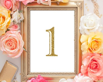 Table Numbers Gold - 5x7 (1-40 Entire Set!) Gold Table Numbers, Wedding Table Numbers, Wedding Table Decor, Table Number Cards